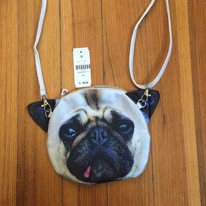 LF Pug face mini fabric crossbody bag